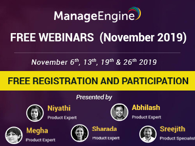 FREE WEBINARS | ManageEngine December 2019