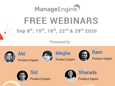 FREE WEBINARS | ManageEngine September 2020