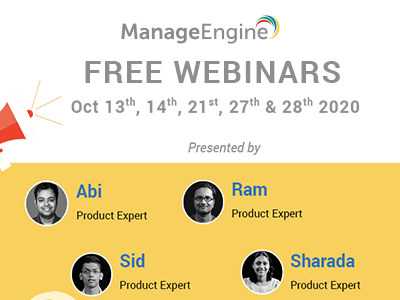 FREE WEBINARS | ManageEngine October 2020