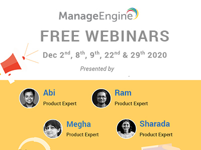 FREE WEBINARS | ManageEngine December 2020