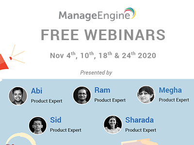 FREE WEBINARS | ManageEngine November 2020