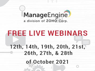 FREE WEBINARS | ManageEngine October 2021